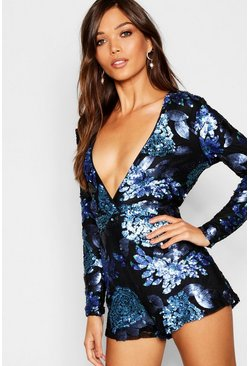 Womens Black Floral Sequin Wrap Hem Playsuit