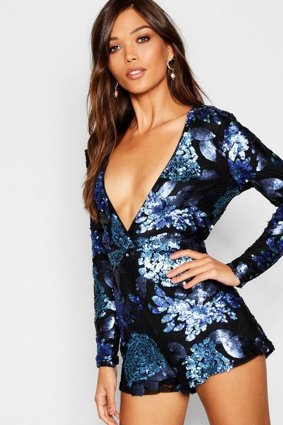 Floral Sequin Wrap Hem Playsuit