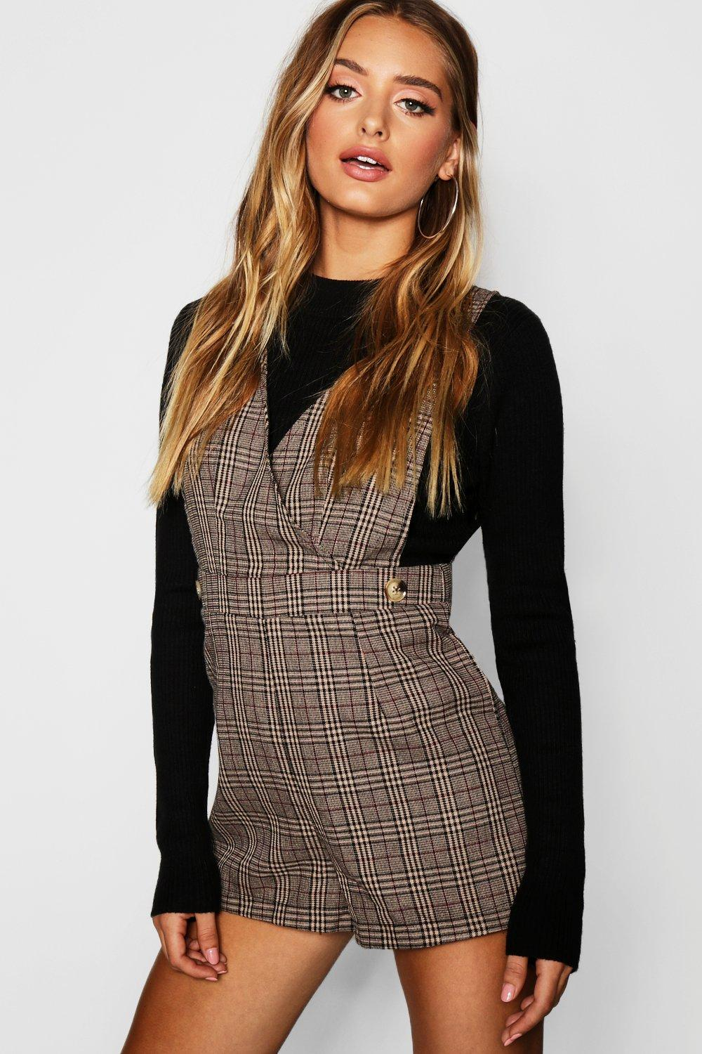 Heritage Check Pinafore Playsuit