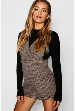 Womens Brown Heritage Check Pinafore Playsuit