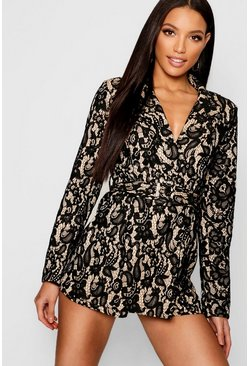 Womens Black Corded Lace Blazer Playsuit