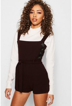 Womens Chocolate Button Belted Playsuit