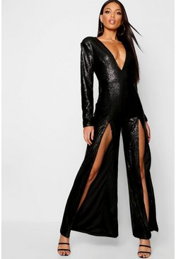 Womens Black Boutique Long Sleeve Plunge Sequin Split Jumpsuit