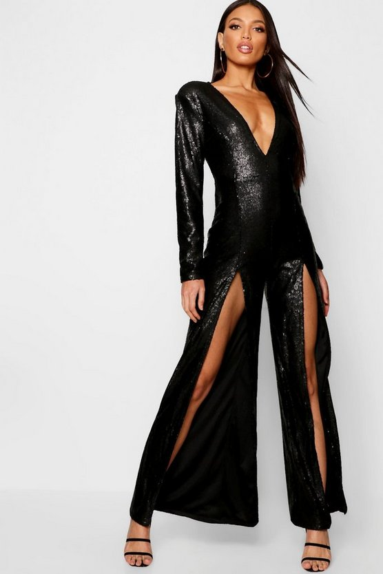 Boutique Long Sleeve Plunge Sequin Split Jumpsuit