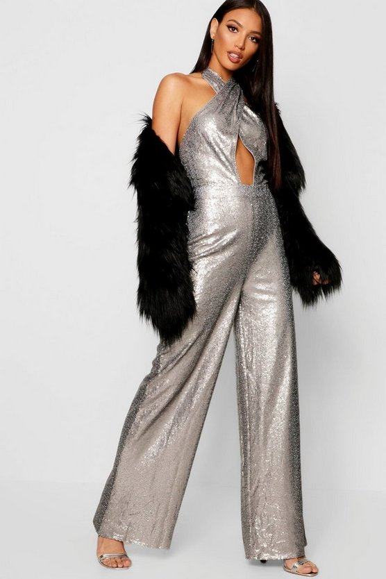Womens Silver Sequin Halter Neck Wide Leg Jumpsuit