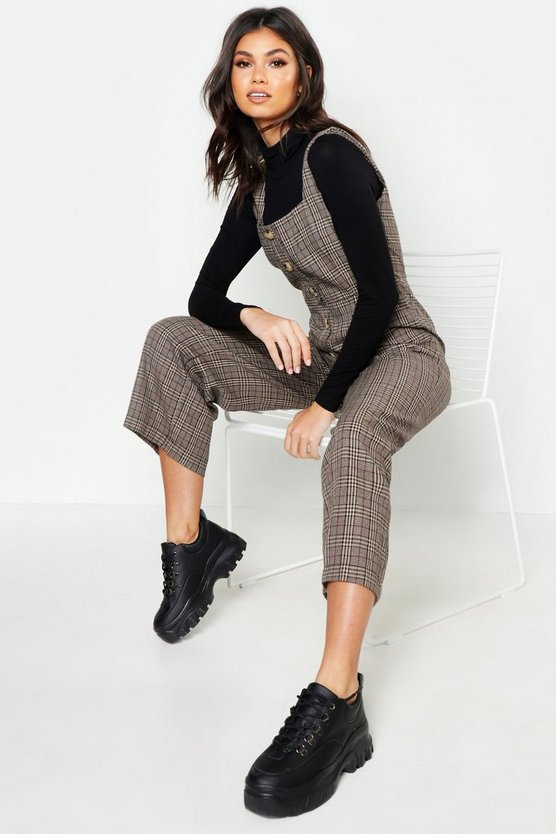 Check Button Pinafore Jumpsuit by Boohoo