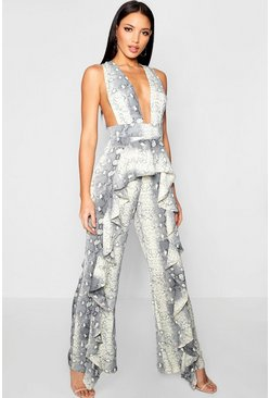 Womens Grey Snakeskin Ruffle Pinafore Jumpsuit
