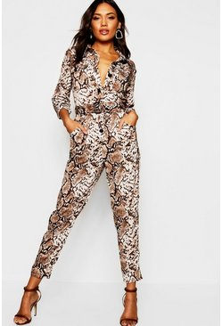 Womens Brown Snake Print Utility Cargo Pocket Boiler Suit