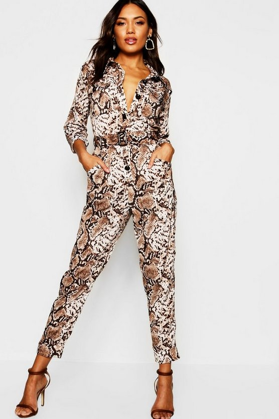 Snake Print Utility Cargo Pocket Boiler Suit by Boohoo