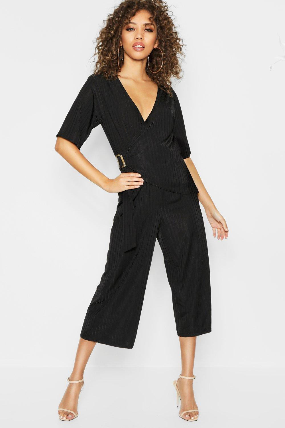 Tortise Shell Buckle Wrap Angel Sleeve Jumpsuit