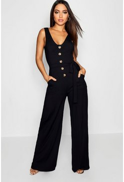 Womens Black Horn Button Ribbed Tie Belt Pocket Jumpsuit