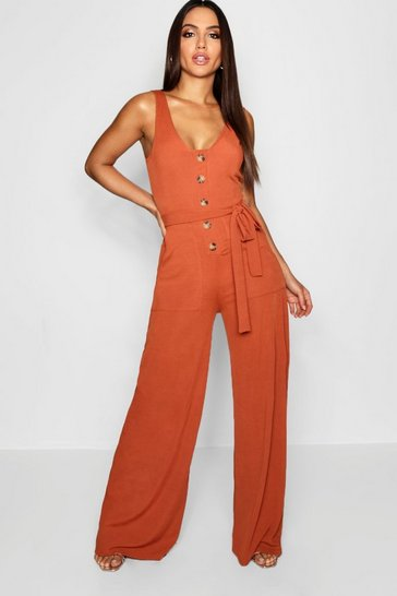Womens Burnt orange Horn Button Ribbed Tie Belt Pocket Jumpsuit