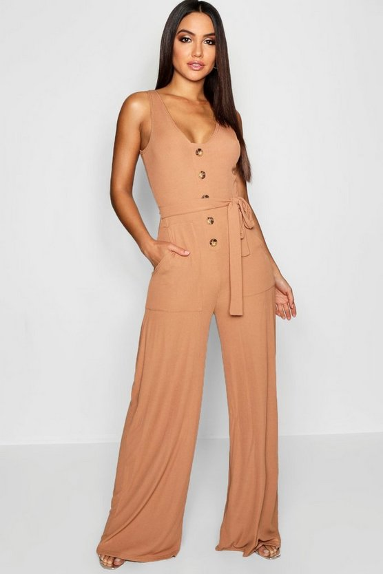Womens Camel Horn Button Rib Tie Belt Pocket Jumpsuit
