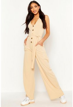 Ecru Horn Button Ribbed Tie Belt Pocket Jumpsuit