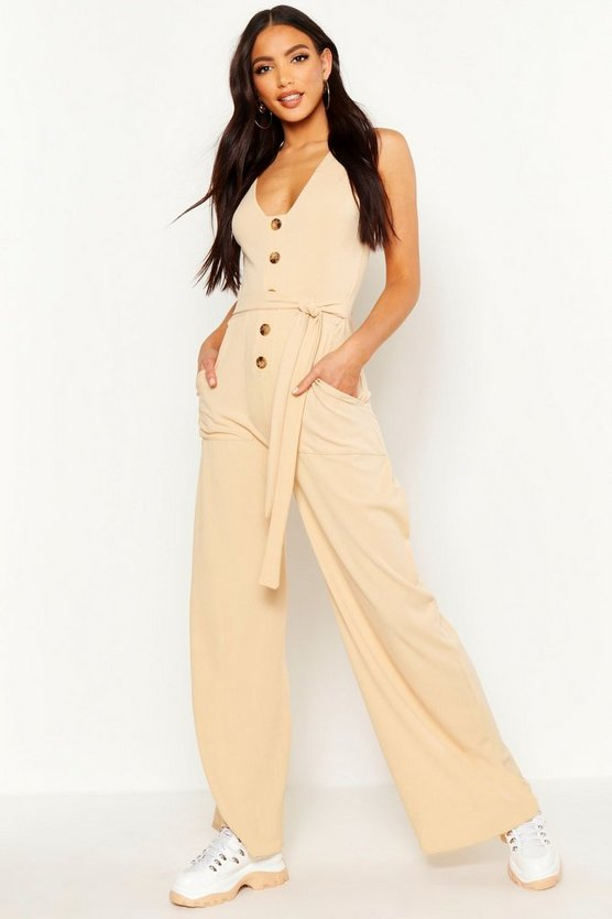 Womens Ecru Horn Button Rib Tie Belt Pocket Jumpsuit