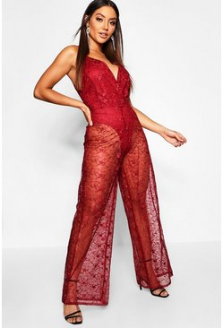 Womens Berry Embrioidered Lace Plunge Jumpsuit