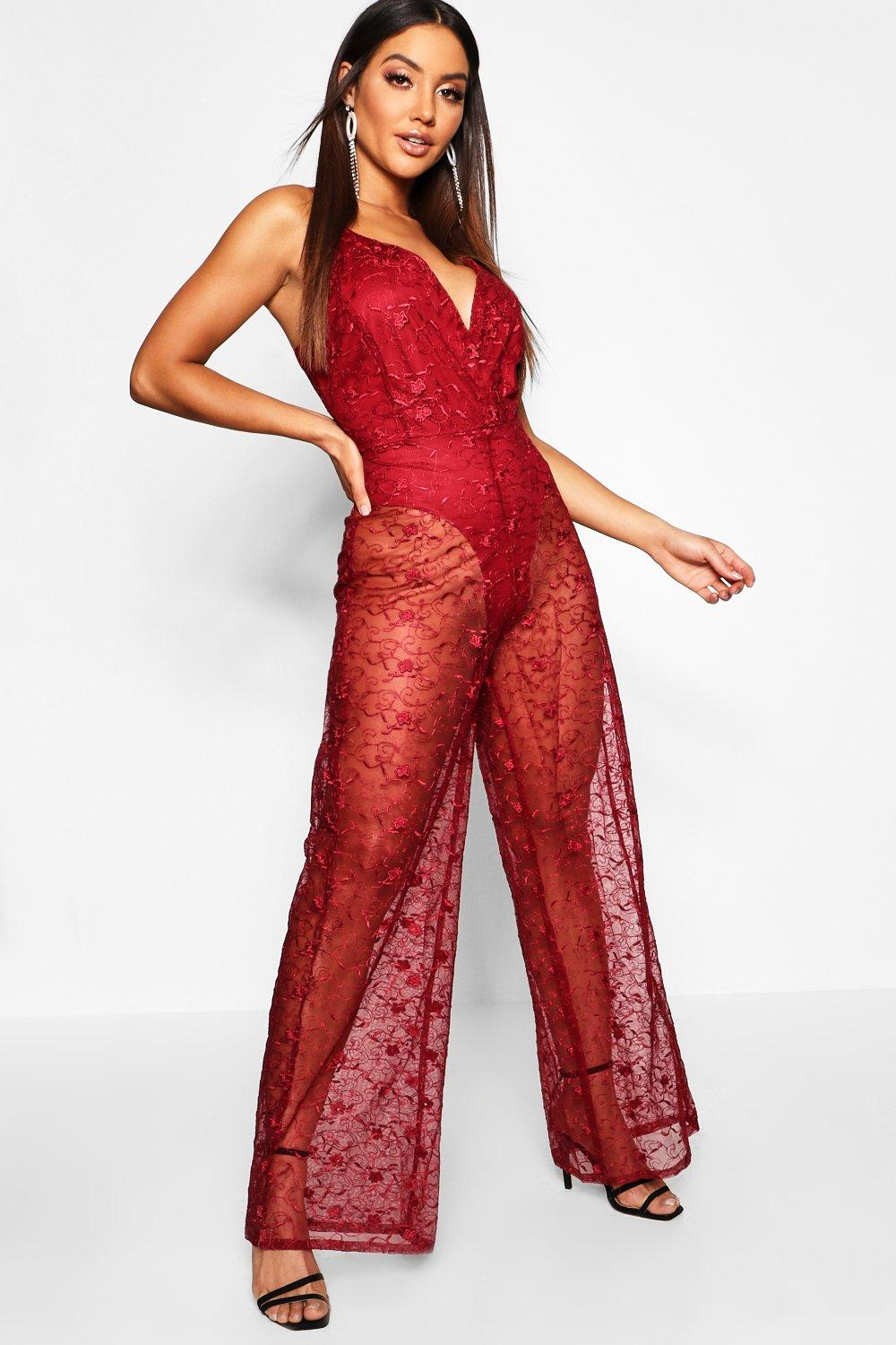 Embrioidered Jumpsuit Plunge Plunge berry Lace Jumpsuit Lace Embrioidered qvOPnnt