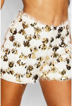 Gold Tassel Disc Sequin Shorts
