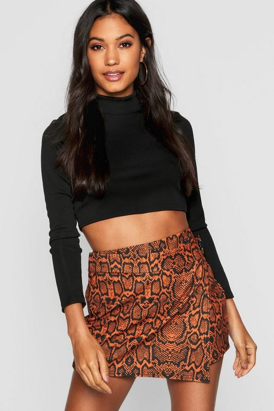 Womens Rust Snakeskin Giant Button Skort