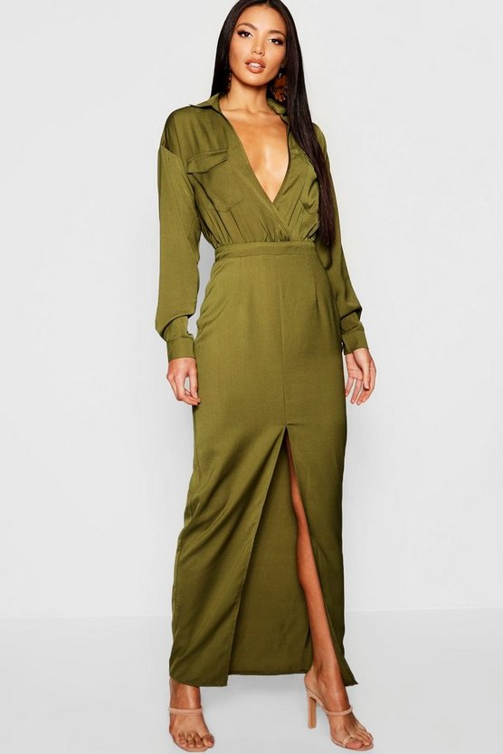 Utility Pocket Front Maxi Dress