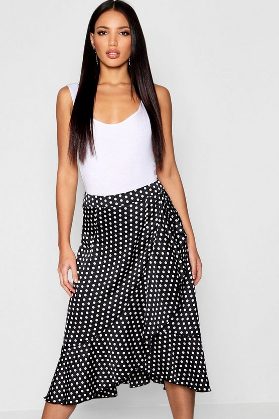 Satin Polka Dot Ruffle Wrap Midi Skirt