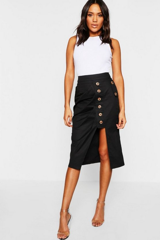 Mock Horn Button Utility Asymetric Midi Skirt