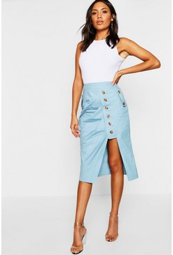 Womens Blue Mock Horn Button Utility Asymetric Midi Skirt