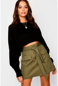Womens Khaki High Waist Mock Horn Button Belted Mini Skirt