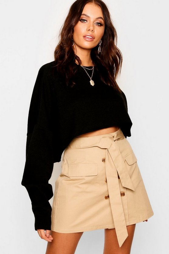 High Waist Mock Horn Button Belted Mini Skirt