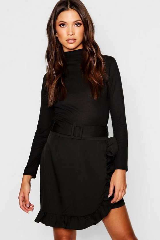 Womens Black Belted Ruffle Wrap Mini Skirt