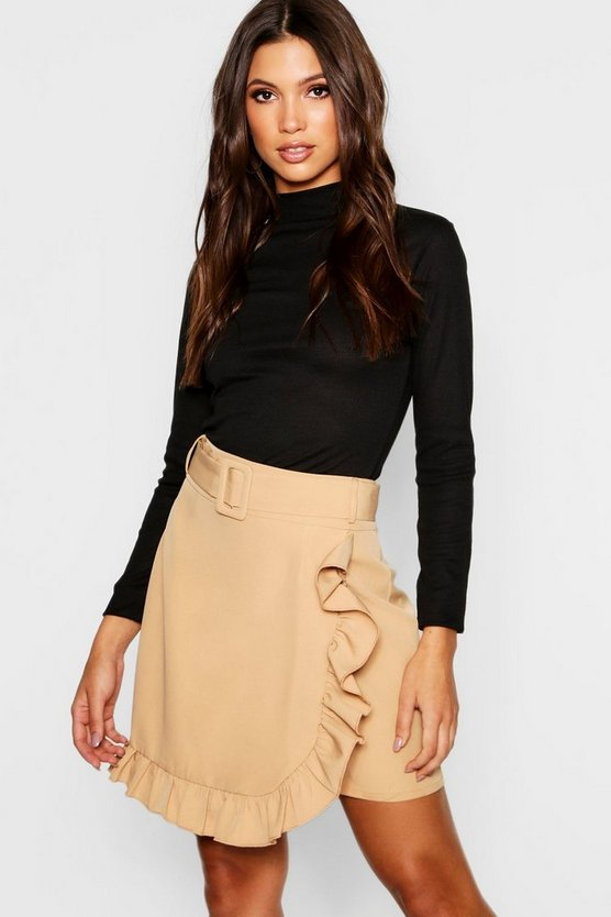 Belted Ruffle Wrap Mini Skirt