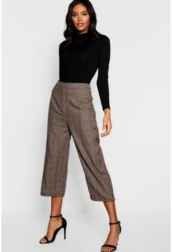 Womens Brown Check Mock Horn Button Side Culottes