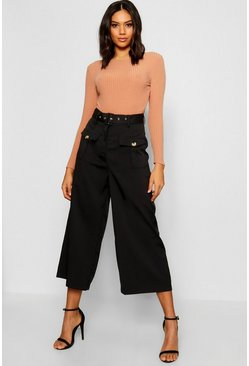 Womens Black Belted Utility Pocket Button Culottes