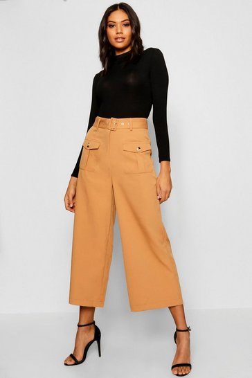 Womens Camel Belted Utility Pocket Button Culottes