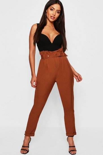 Womens Tan Paperbag Belted Woven Slim Fit Trousers