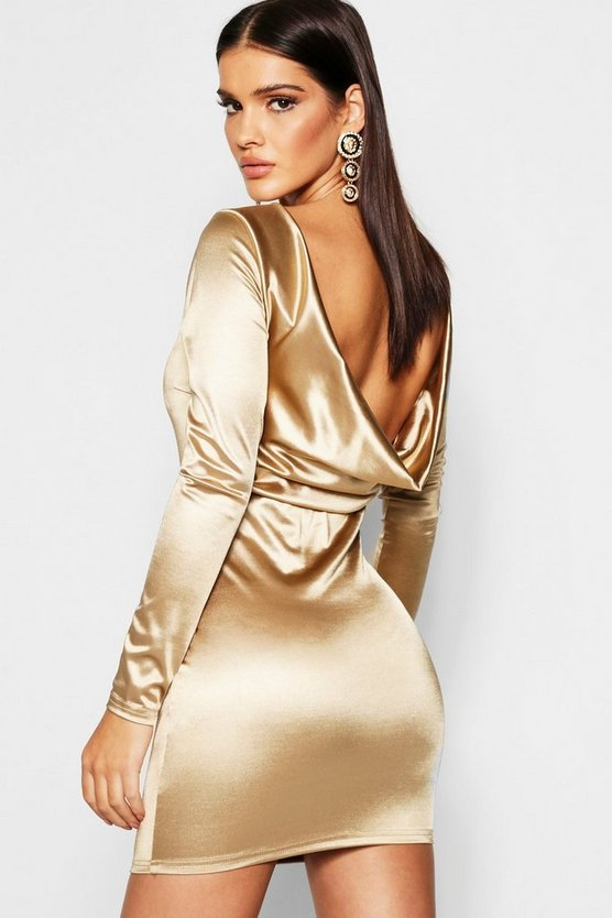 Satin Cowl Back Long Sleeve Mini Dress