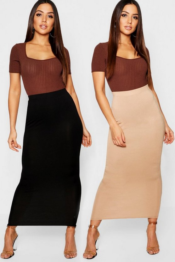 2 Pack Basic Midaxi Skirt