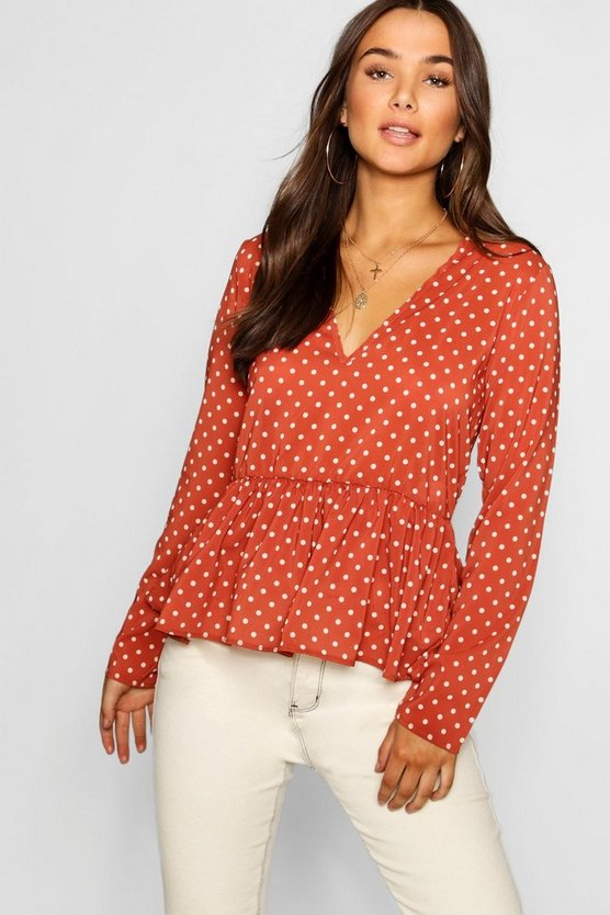 Polka Dot Long Sleeve Peplum Top