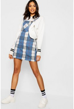 Womens Navy Mock Horn Button Checked Pinafore