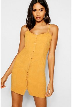 Womens Mustard Popper Front Cord Dress
