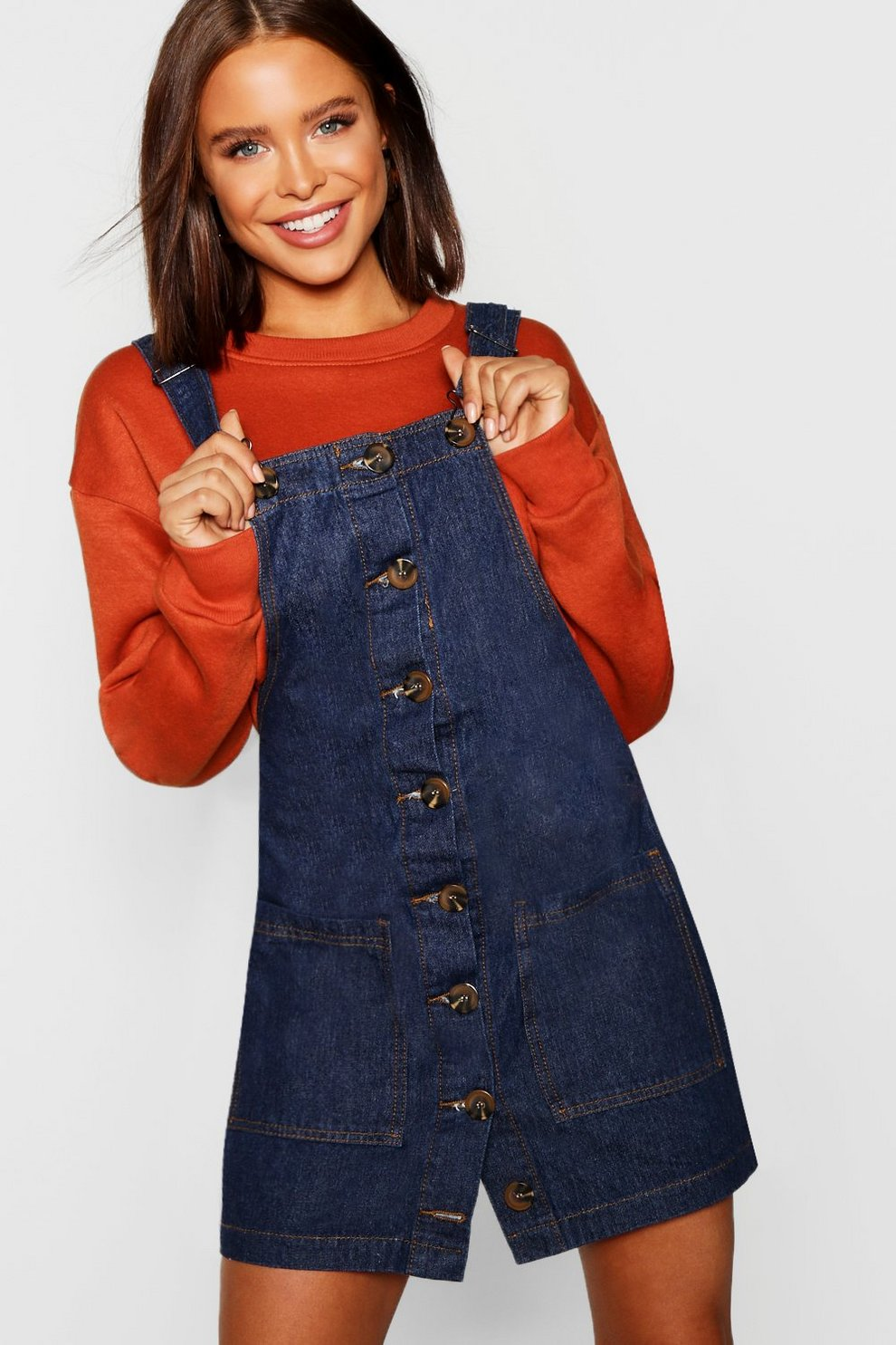 467ff91007a Womens Indigo Mock Horn Button Denim Pinafore. Hover to zoom