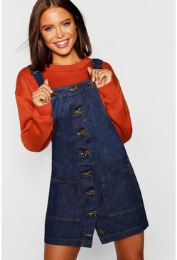 Womens Indigo Mock Horn Button Denim Pinafore