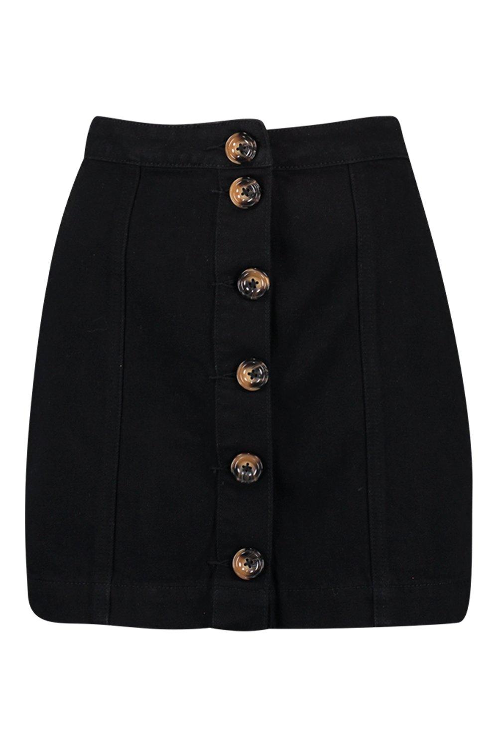 Mock Button Horn Denim black Skirt 66aqrz