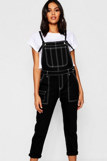 Womens Black Tie Detail Twill Dungarees