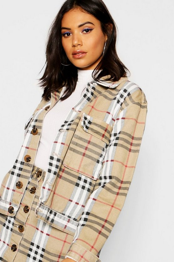 Checked Twill Cropped Trucker Jacket