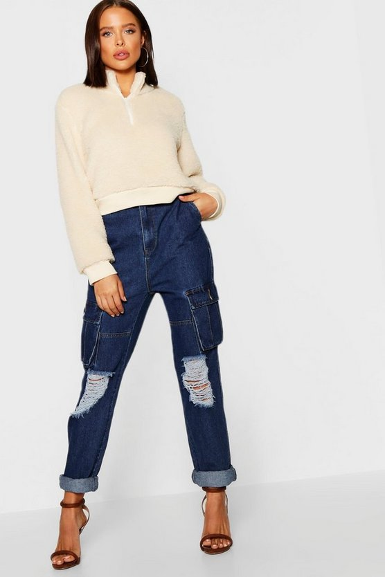Mid Rise Denim Distressed Utilty Pants