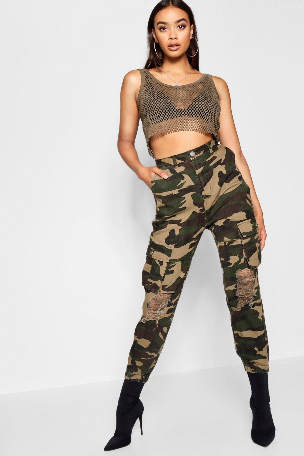 Camo Distressed Utility Trousers