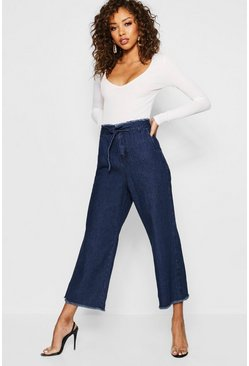 Womens Indigo Cinch In Waist Wide Leg Jeans