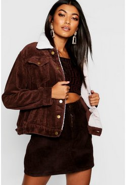 Womens Chocolate Borg Collar Jumbo Cord Denim Jacket