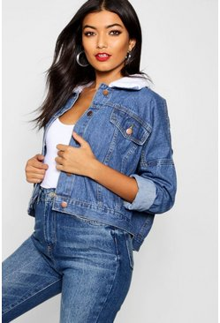 Womens Mid blue Batwing Oversize Borg Collar Denim Jacket
